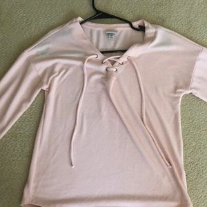Tops - Baby pink loose long sleeve with cross cross tie.